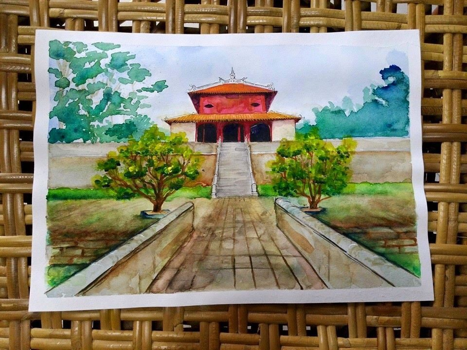 A building at the imperial city, a Unesco works heritage site in Hue, Vietnam
