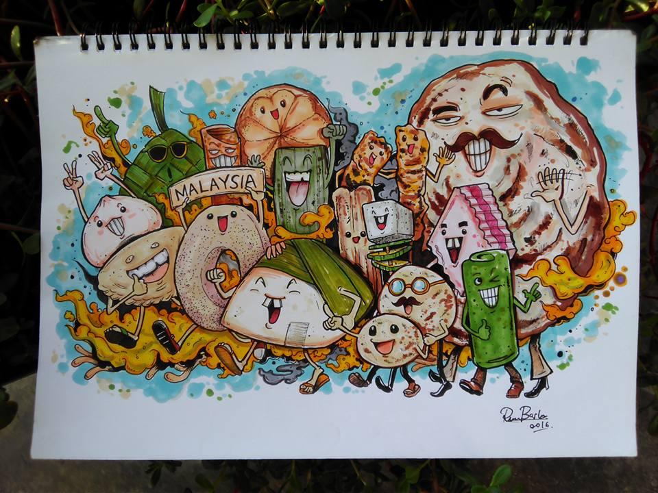 Muhammad Ridzuan cartoonises Malaysian food! Check out the roti canai! :D