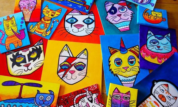 Artist turns cats into brightly coloured pop culture icons!